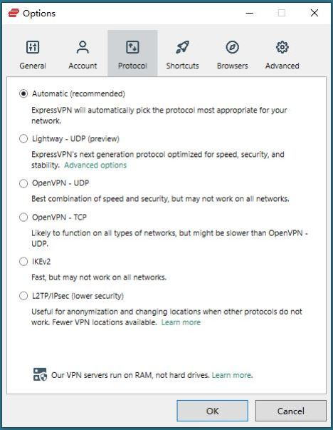 Windows ExpressVPN Options Protocol