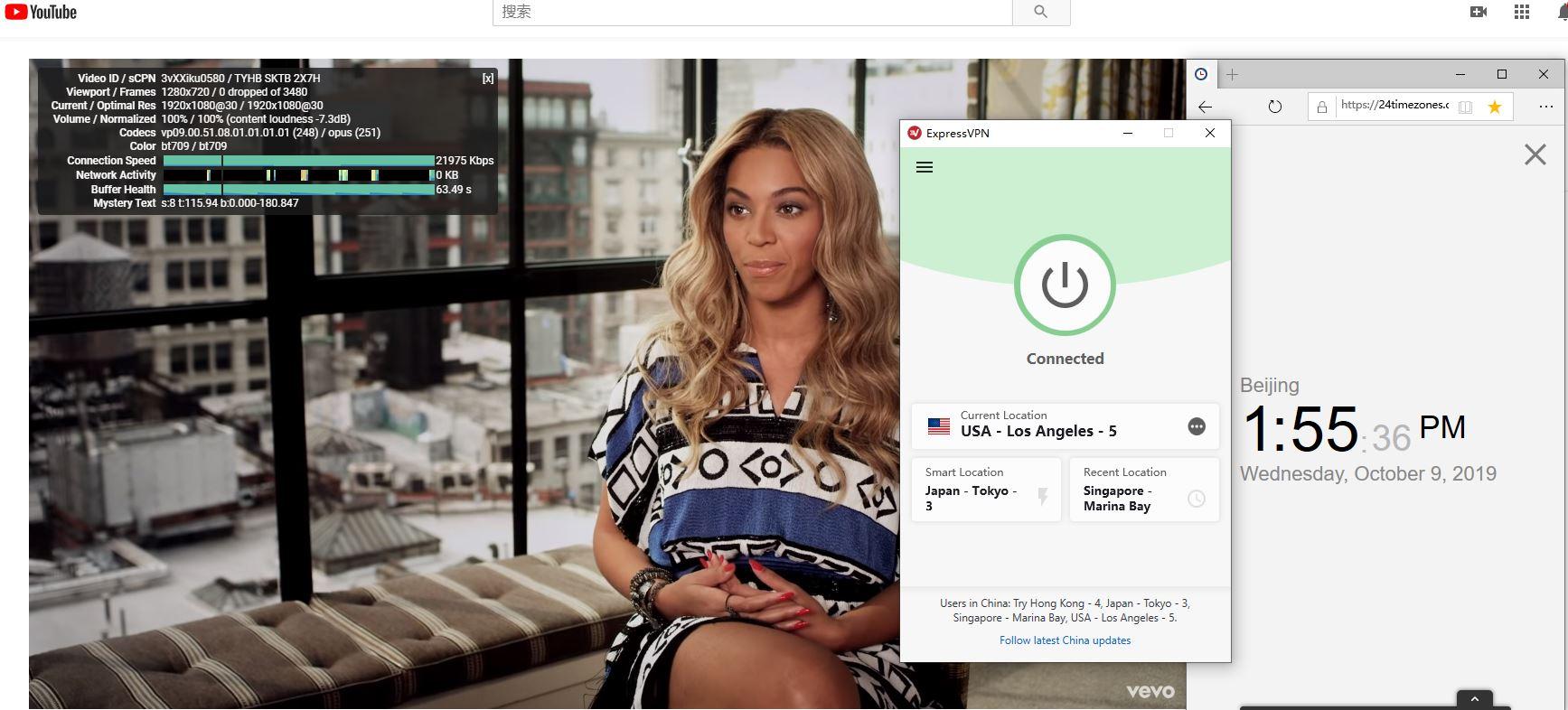 Windows ExpressVPN USA - Los Angeles - 5 中国VPN翻墙 科学上网 YouTube速测-20191009