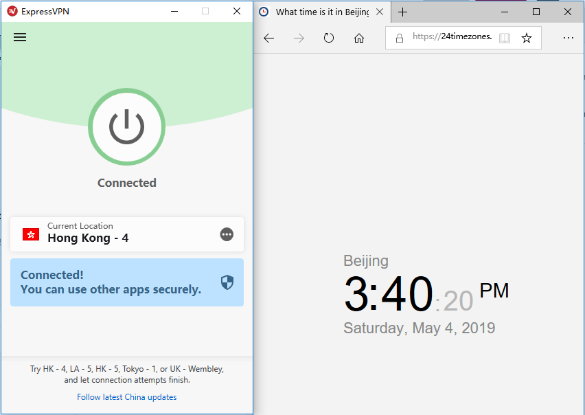Windows ExpressVPN hongkong-4节点-20190504