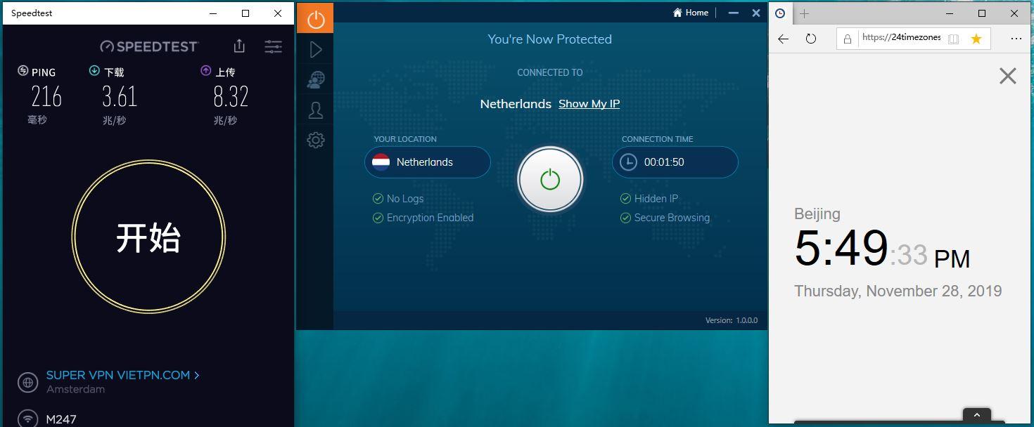 Windows IvacyVPN Netherlands 中国VPN翻墙 科学上网 SpeedTest测试-20191128