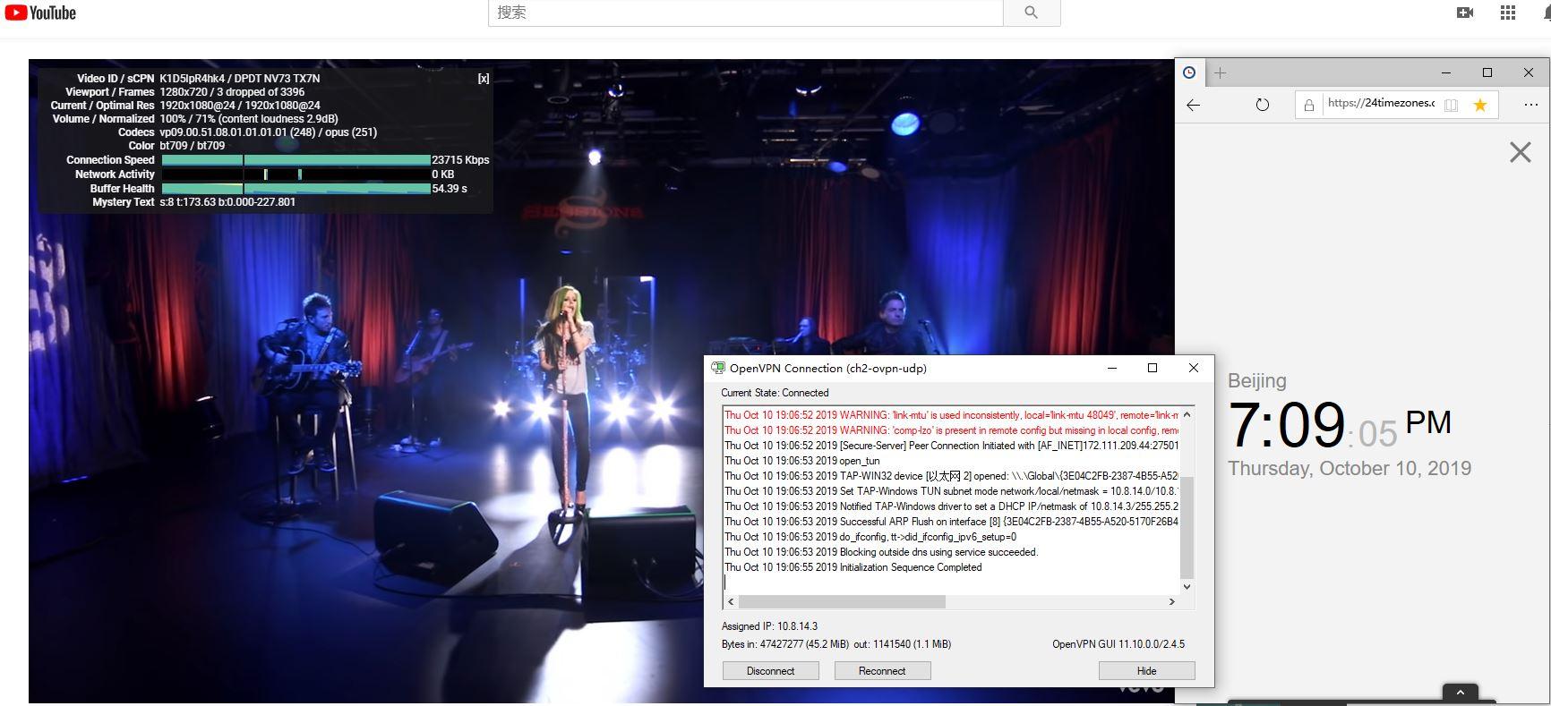 Windows IvacyVPN OPEN VPN GUI CH2 中国VPN翻墙 科学上网 Youtube测速-20191010