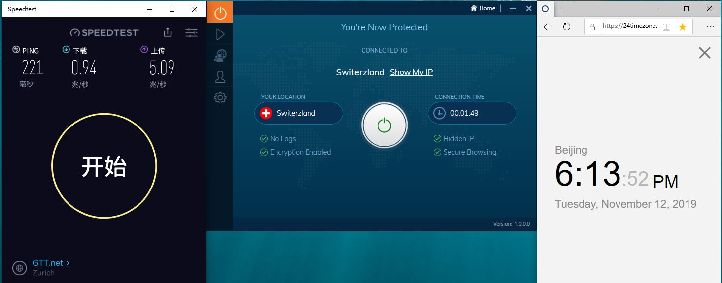 Windows IvacyVPN Switerzland 中国VPN翻墙 科学上网 Speedtest测速-20191112