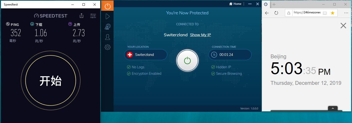 Windows IvacyVPN Switerzlands 中国VPN翻墙 科学上网 SpeedTest 测速 - 20191212