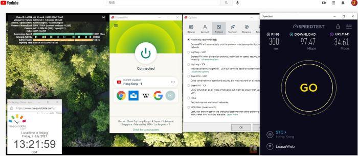 Windows10 ExpressVPN Automatic协议 Hong Kong - 4 服务器 中国VPN 翻墙 科学上网 Barry测试 10BEASTS - 20210702