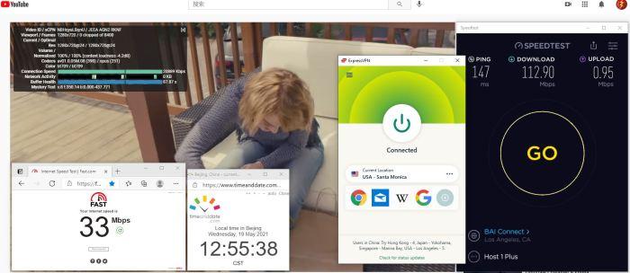 Windows10 ExpressVPN Automatic协议 USA - Santa Monica 服务器 中国VPN 翻墙 科学上网 10BEASTS Barry测试 - 20210519