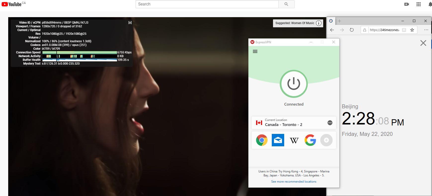 Windows10 ExpressVPN Canada - Toronto - 2 中国VPN 翻墙 科学上网 youtube测速-20200522
