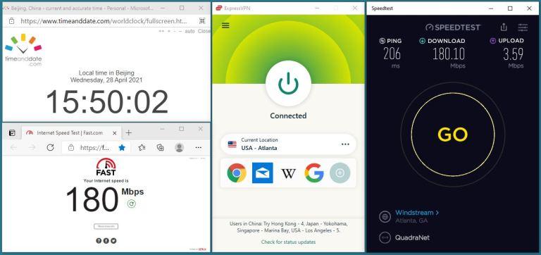 Windows10 ExpressVPN IKEv2协议 USA - Atlanta 服务器 中国VPN 翻墙 科学上网 10BEASTS Barry测试 - 20210428