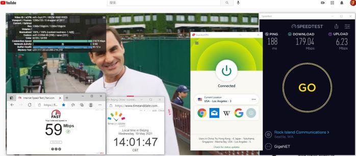 Windows10 ExpressVPN IKEv2协议 USA - Los Angeles - 3 服务器 中国VPN 翻墙 科学上网 10BEASTS Barry测试 - 20210519