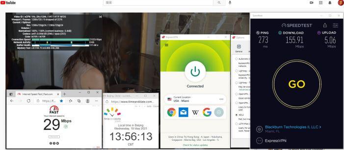 Windows10 ExpressVPN IKEv2协议 USA - Miami 服务器 中国VPN 翻墙 科学上网 10BEASTS Barry测试 - 20210519