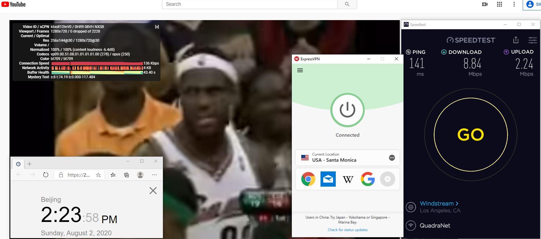 Windows10 ExpressVPN IKEv2协议 USA - Santa Monica 中国VPN 翻墙 科学上网 翻墙速度测试 - 20200802