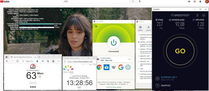 Windows10 ExpressVPN Lightway-udp协议 USA - New York 服务器 中国VPN 翻墙 科学上网 10BEASTS Barry测试 - 20210519