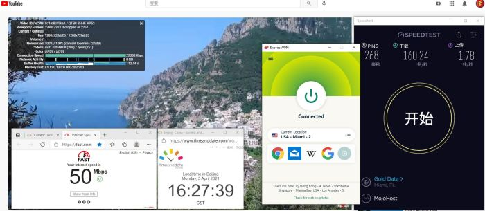 Windows10 ExpressVPN OpenVPN - UDP USA - Miami - 2 服务器 中国VPN 翻墙 科学上网 10BEASTS Barry测试 - 20210405