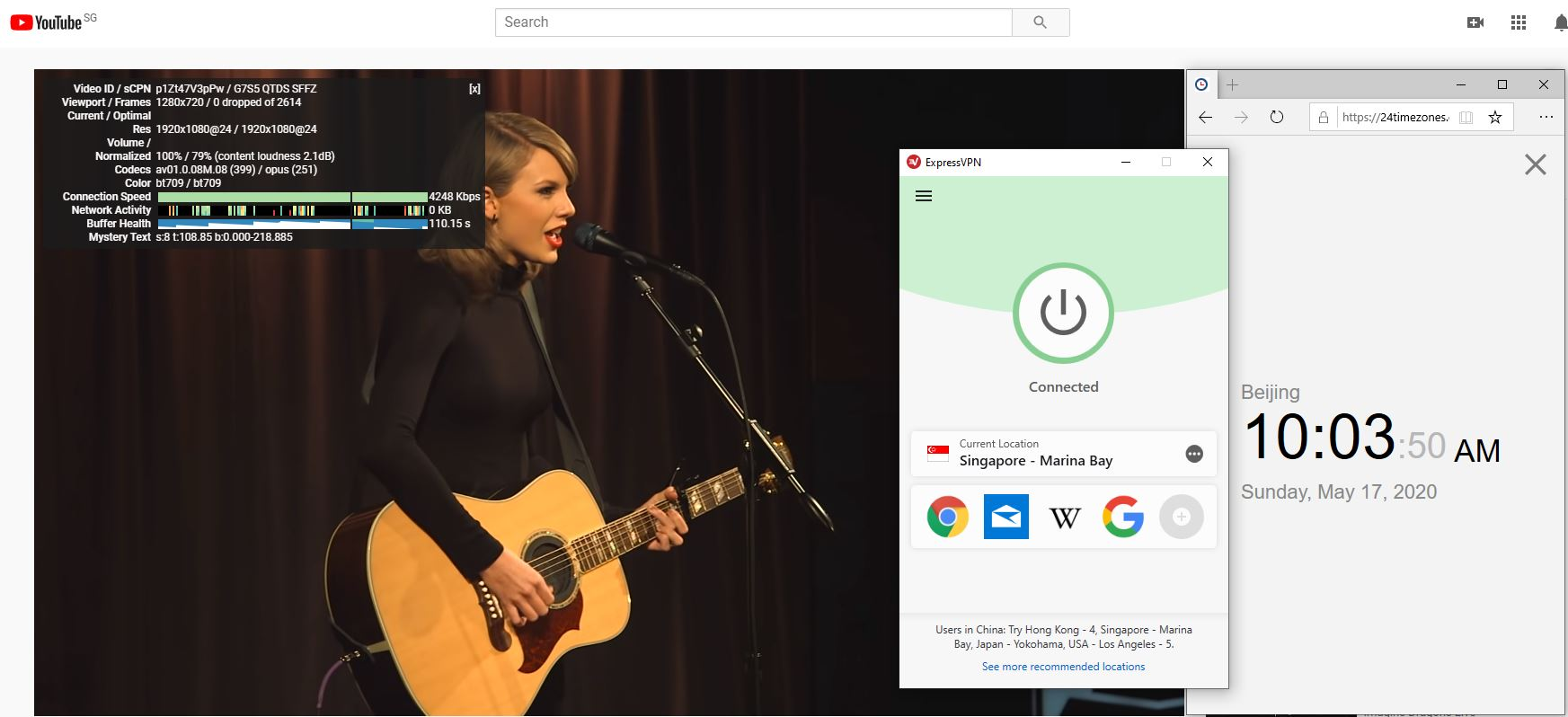 Windows10 ExpressVPN Singapore Marina Bay 中国VPN 翻墙 科学上网 youtube测速-20200517