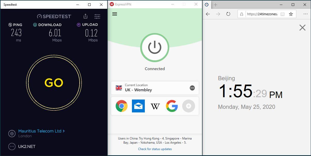 Windows10 ExpressVPN UK - Wembley 中国VPN 翻墙 科学上网 测速-20200525