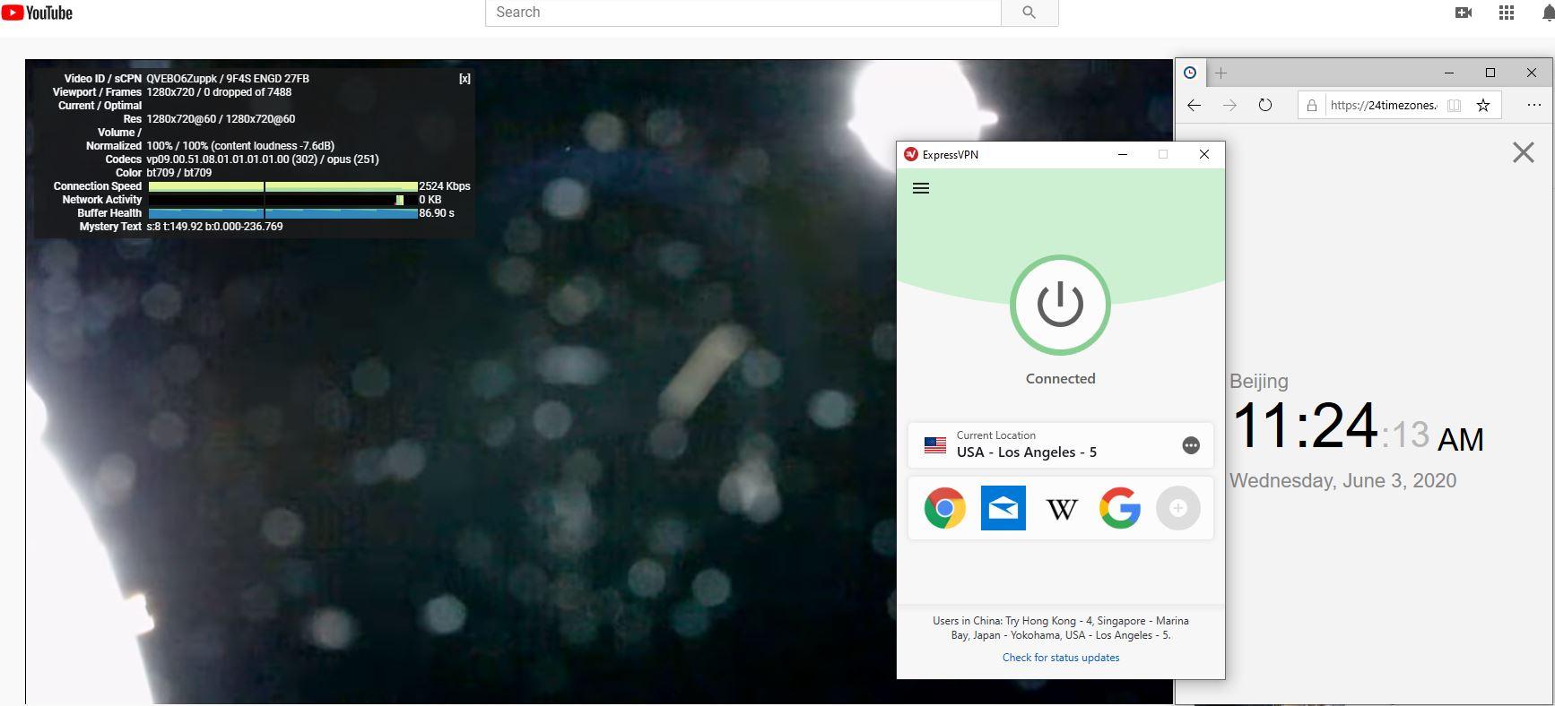Windows10 ExpressVPN USA - Los Angeles - 5 中国VPN 翻墙 科学上网 测速-20200603