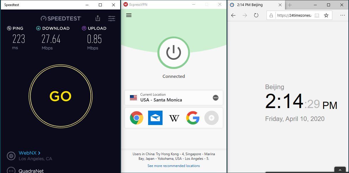 Windows10 ExpressVPN USA - Santa Monica 中国VPN翻墙 科学上网 SpeedTest测速-20200410