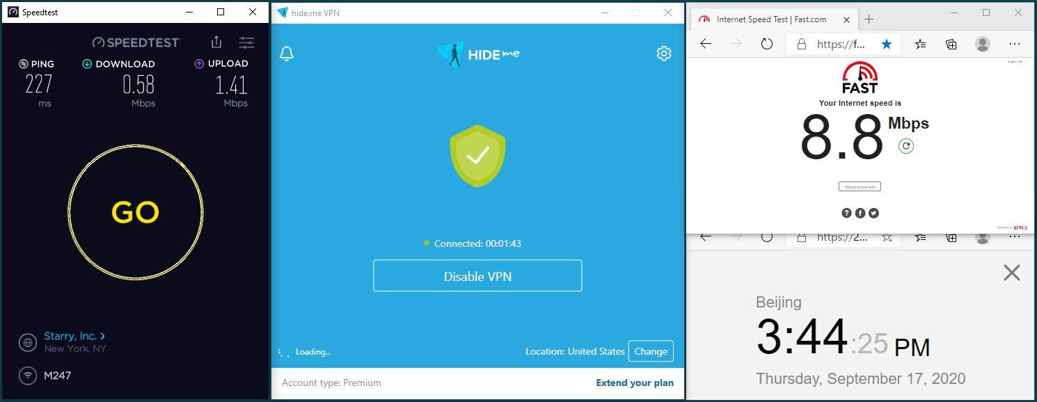 Windows10 HidemeVPN Streaming USA-Disney 服务器 中国VPN 翻墙 科学上网 翻墙速度测试 - 20200917