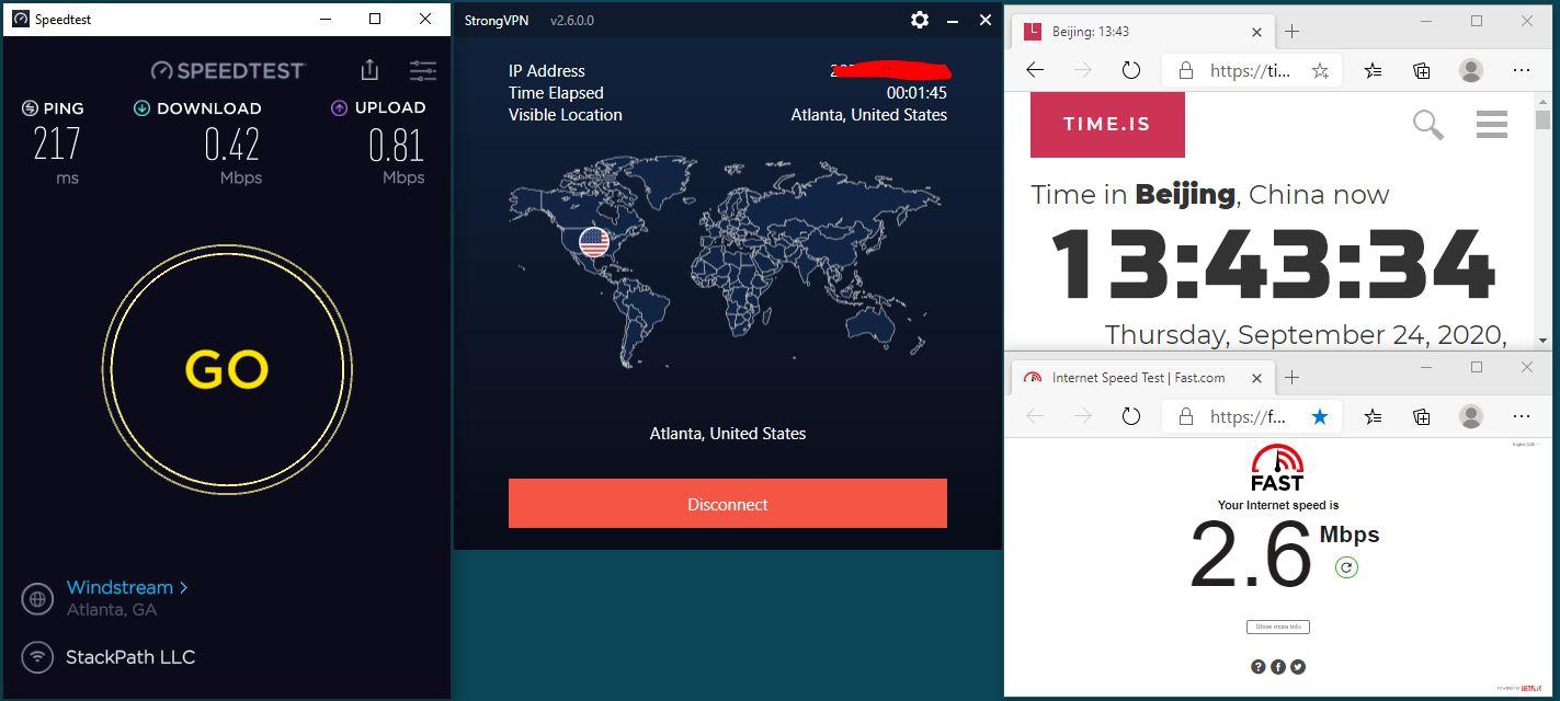 Windows10 IKEv2 StrongVPN USA-Atlanta 服务器 中国VPN 翻墙 科学上网 翻墙速度测试 - 20200924