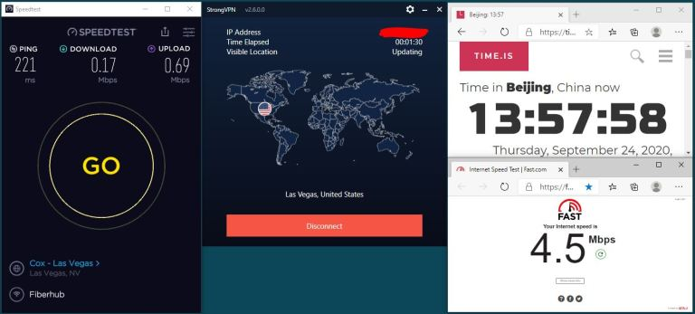 Windows10 IKEv2 StrongVPN USA-Las Vegas 服务器 中国VPN 翻墙 科学上网 翻墙速度测试 - 20200924