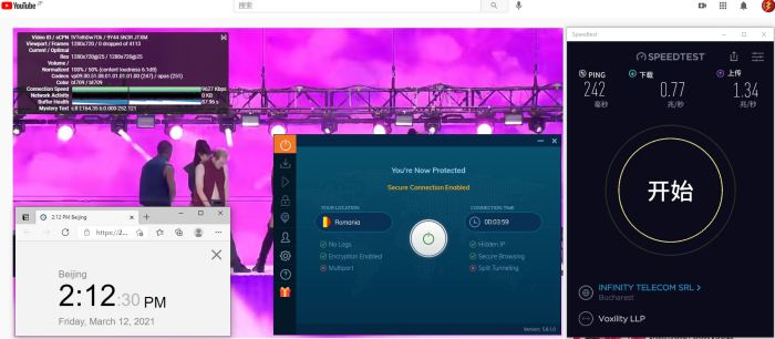 Windows10 IvacyVPN 国际版APP IKEv2 Romania 服务器 中国VPN 翻墙 科学上网 10BEASTS Barry测试 - 20210312