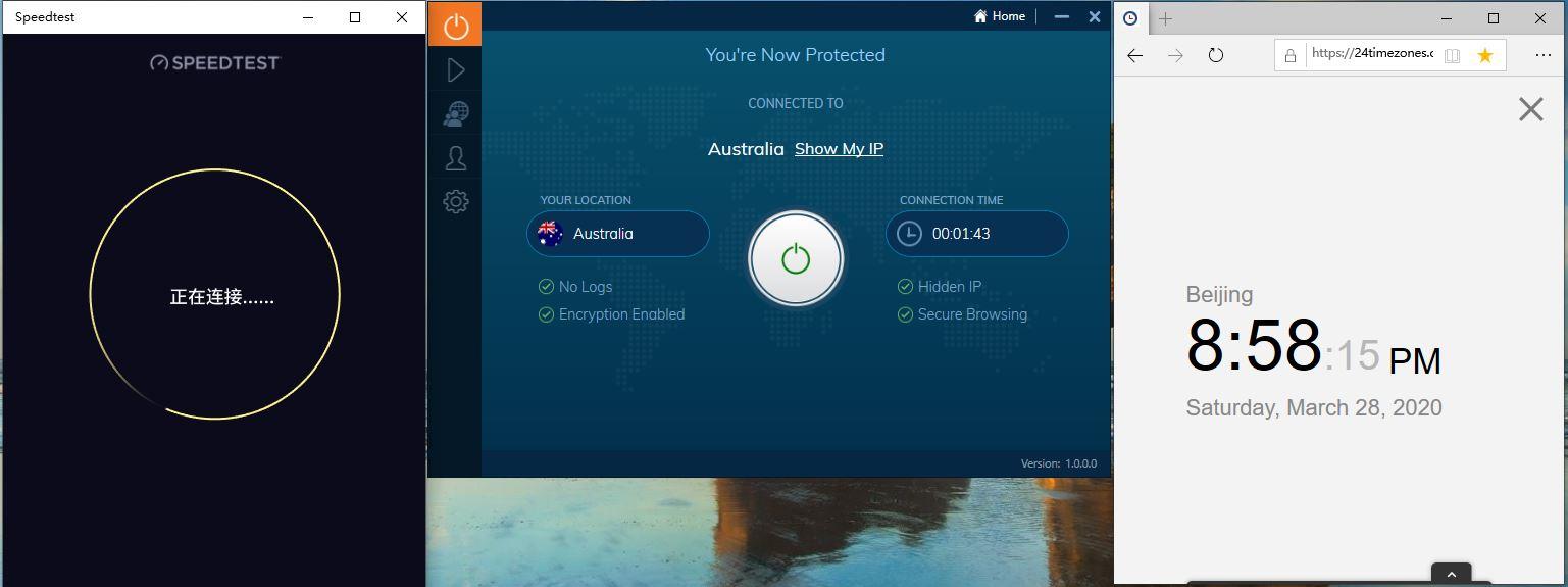 Windows10 IvacyVPN Australia 中国VPN翻墙 科学上网 Speedtest测速 - 20200328