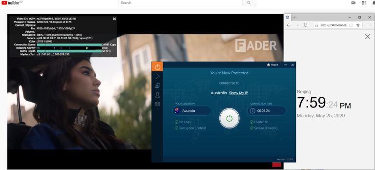 Windows10 IvacyVPN Australia 中国VPN 翻墙 科学上网 测速-20200525