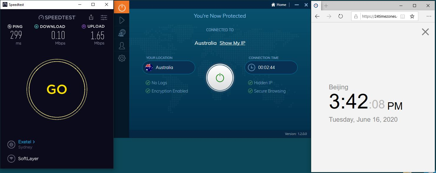 Windows10 IvacyVPN Australia 中国VPN 翻墙 科学上网 测速-20200616