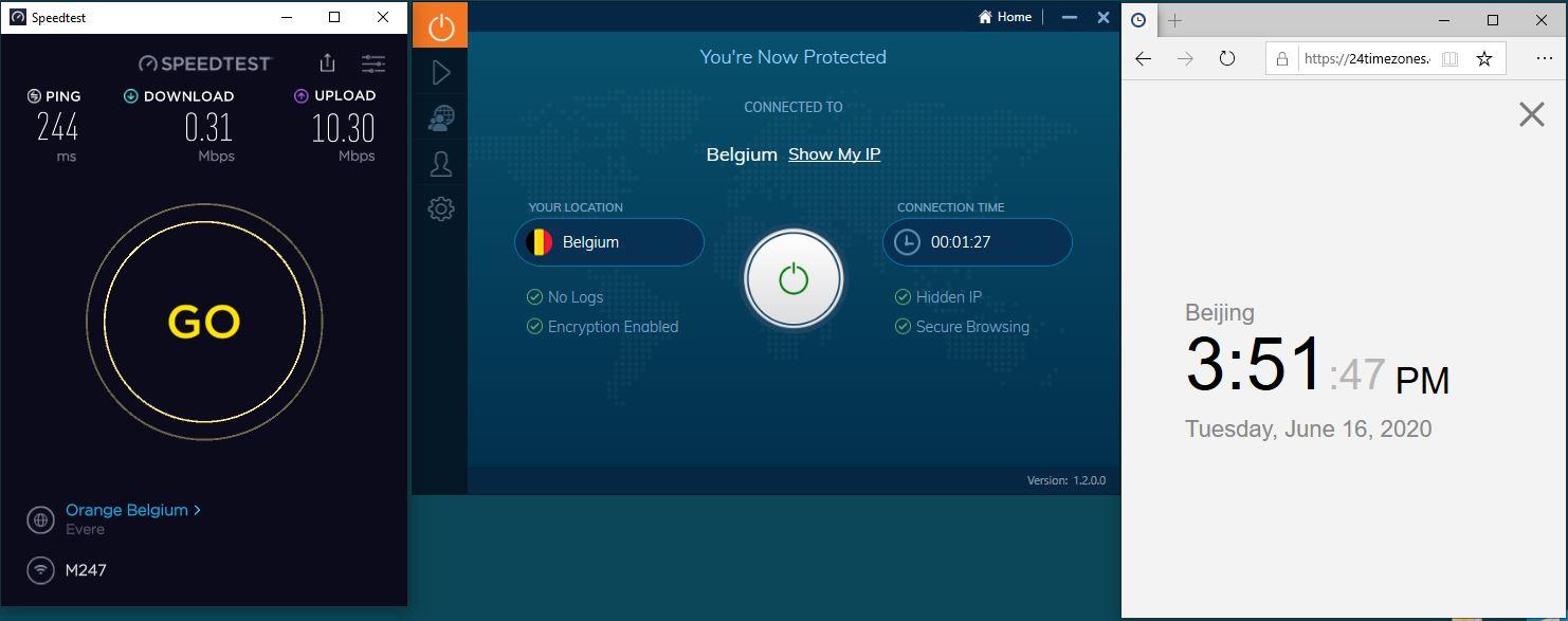 Windows10 IvacyVPN Belgium 中国VPN 翻墙 科学上网 测速-20200616