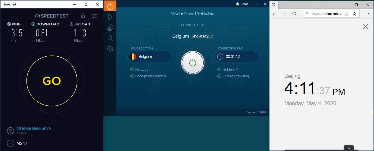 Windows10 IvacyVPN Belgium 中国VPN 翻墙 科学上网 SpeedTest测速-20200504