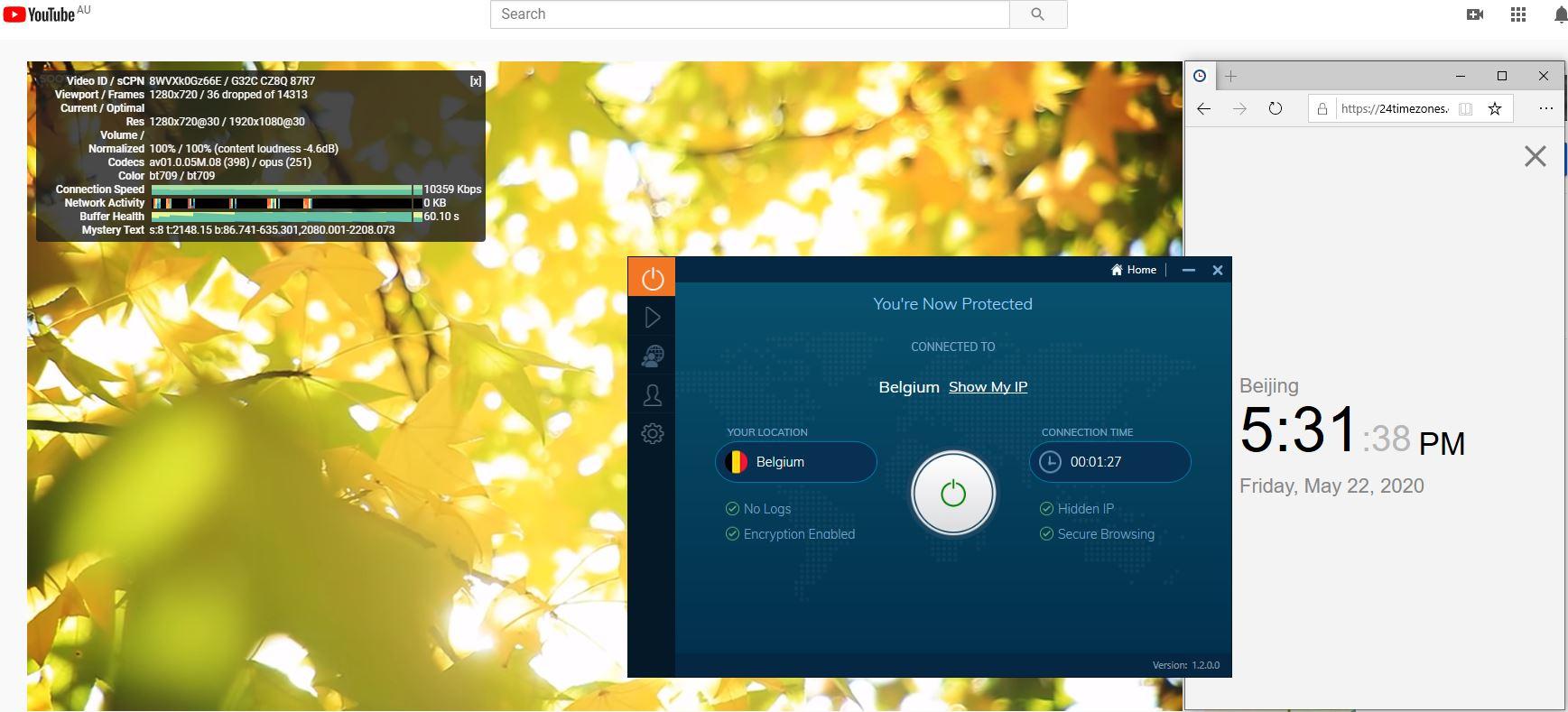 Windows10 IvacyVPN Belgium 中国VPN 翻墙 科学上网 youtube测速-20200522