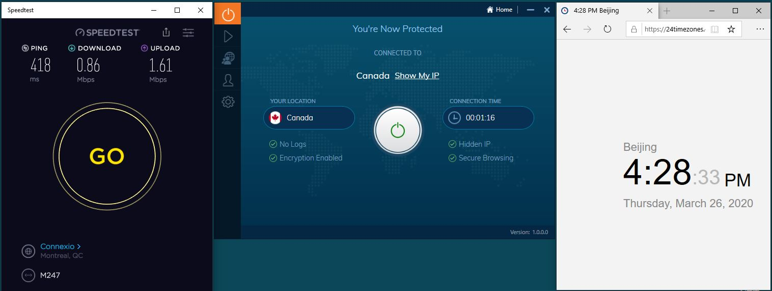 Windows10 IvacyVPN Canada 中国VPN翻墙 科学上网 SpeedTest测速-20200326