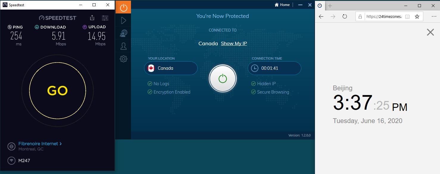 Windows10 IvacyVPN Canada 中国VPN 翻墙 科学上网 测速-20200616