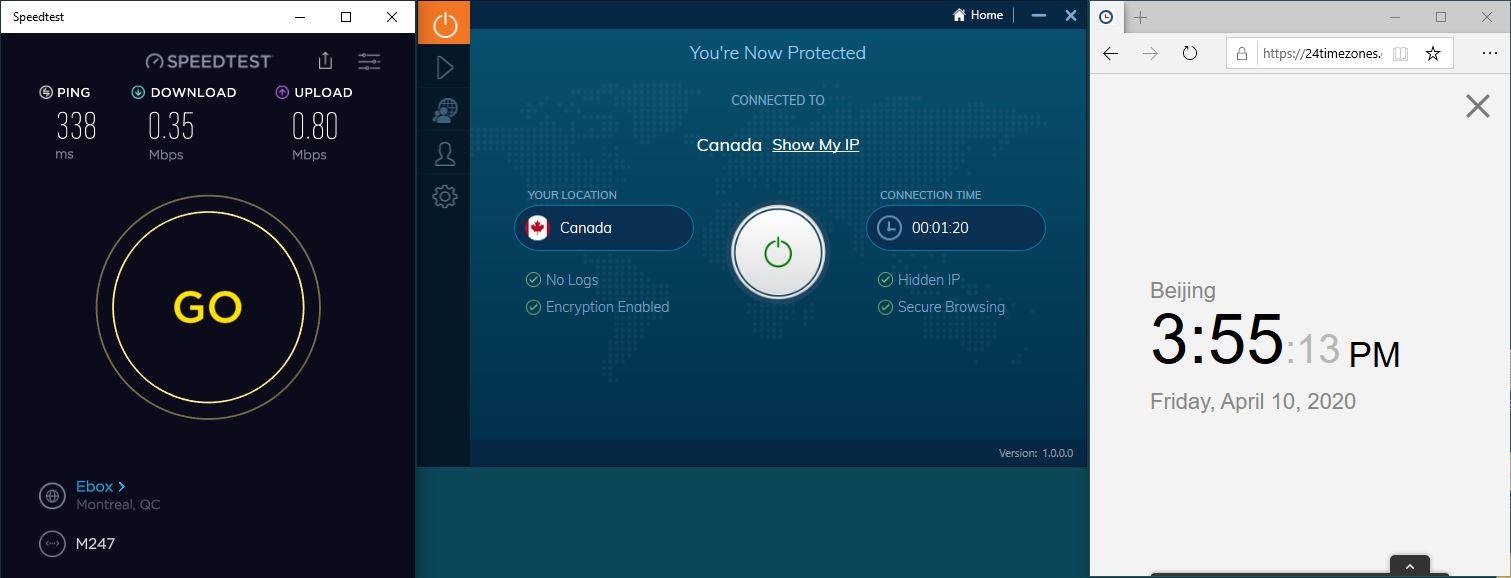 Windows10 IvacyVPN Canada 中国VPN 翻墙 科学上网 SpeedTest测速-20200410