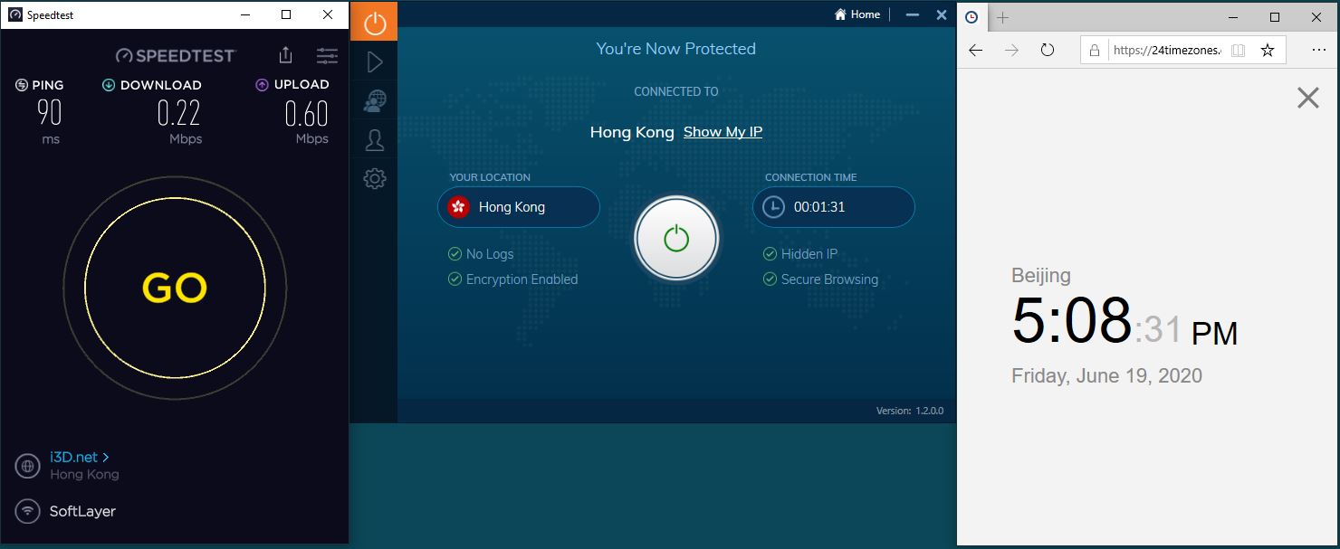 Windows10 IvacyVPN Hong Kong 中国VPN 翻墙 科学上网 测速-20200619