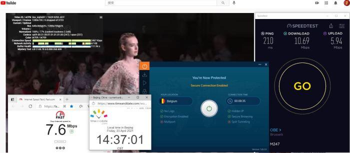 Windows10 IvacyVPN IKEv2协议 Belgium 服务器 中国VPN 翻墙 科学上网 10BEASTS Barry测试 - 20210423