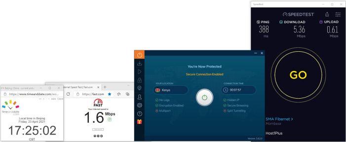Windows10 IvacyVPN IKEv2协议 Kenya 服务器 中国VPN 翻墙 科学上网 10BEASTS Barry测试 - 20210423-1