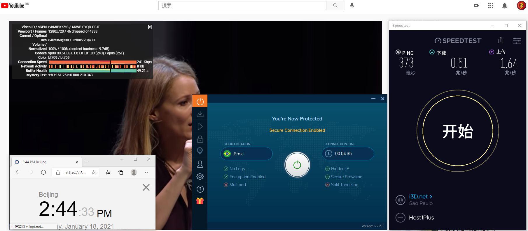 Windows10 IvacyVPN IKEv2 Brazil 服务器 中国VPN 翻墙 科学上网 10BEASTS Barry测试 - 20210118
