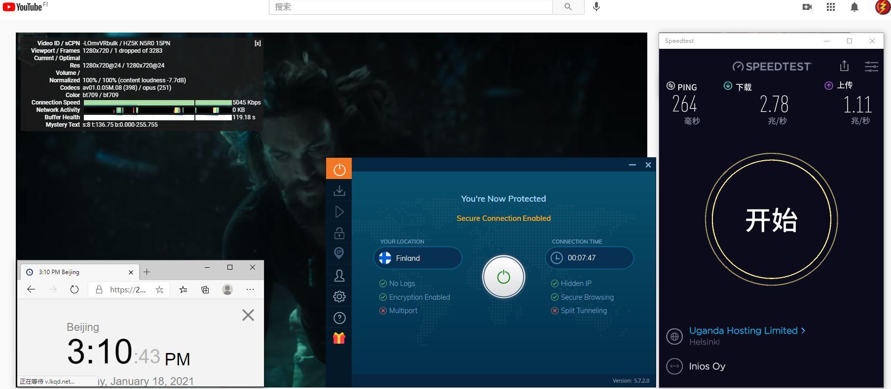 Windows10 IvacyVPN IKEv2 Finland 服务器 中国VPN 翻墙 科学上网 10BEASTS Barry测试 - 20210118