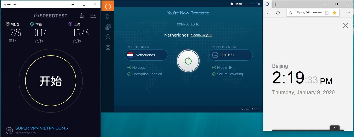 Windows10 IvacyVPN Netherlands 中国VPN翻墙 工具 科学上网 SpeedTest测试-20200109