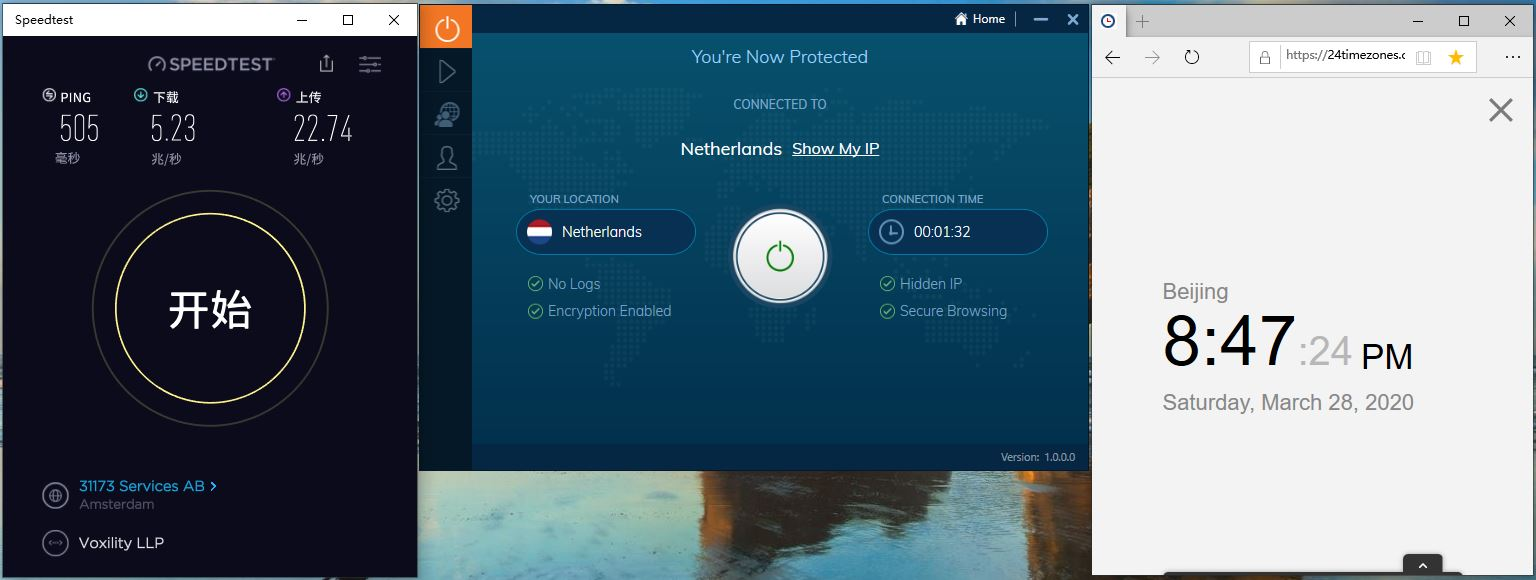 Windows10 IvacyVPN Netherlands 中国VPN翻墙 科学上网 Speedtest测速 - 20200328