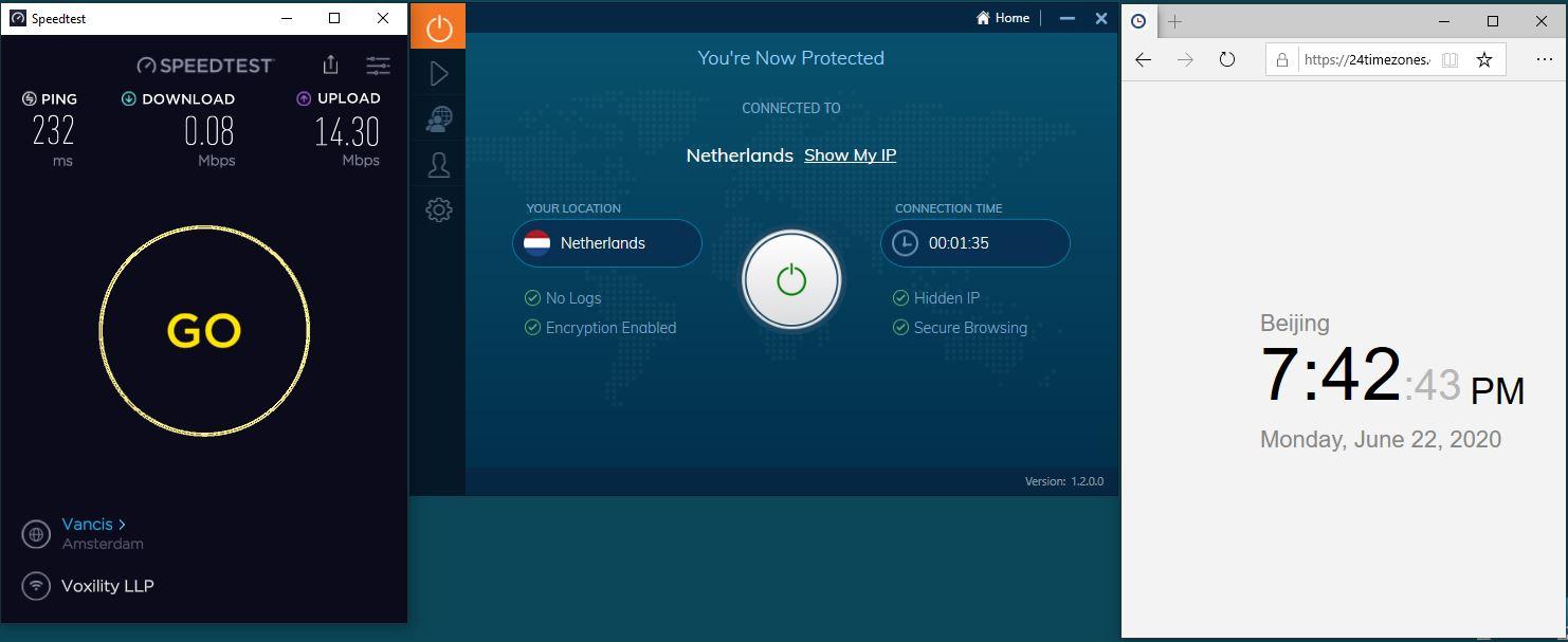 Windows10 IvacyVPN Netherlands 中国VPN 翻墙 科学上网 测速-20200622