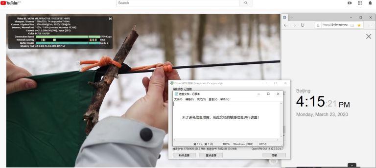 Windows10 IvacyVPN OpenVPN CATO2 中国VPN翻墙 科学上网 Youtube测速 - 20200323