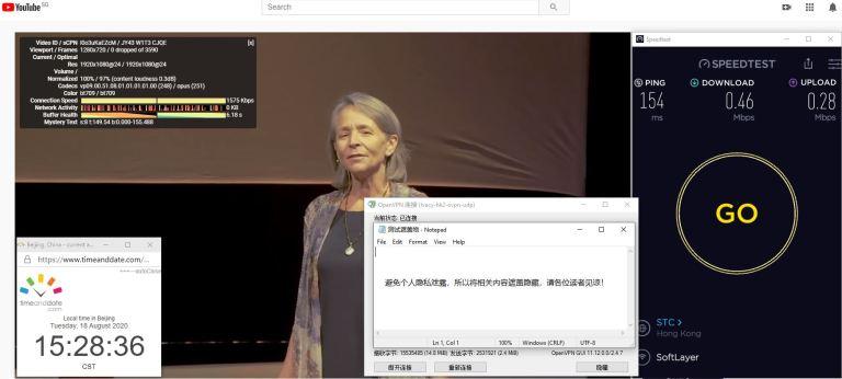 Windows10 IvacyVPN OpenVPN hk2 中国VPN 翻墙 科学上网 翻墙速度测试 - 20200818