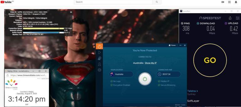 Windows10 IvacyVPN-Prime版本 Australia 中国VPN 翻墙 科学上网 翻墙速度测试 - 20200808