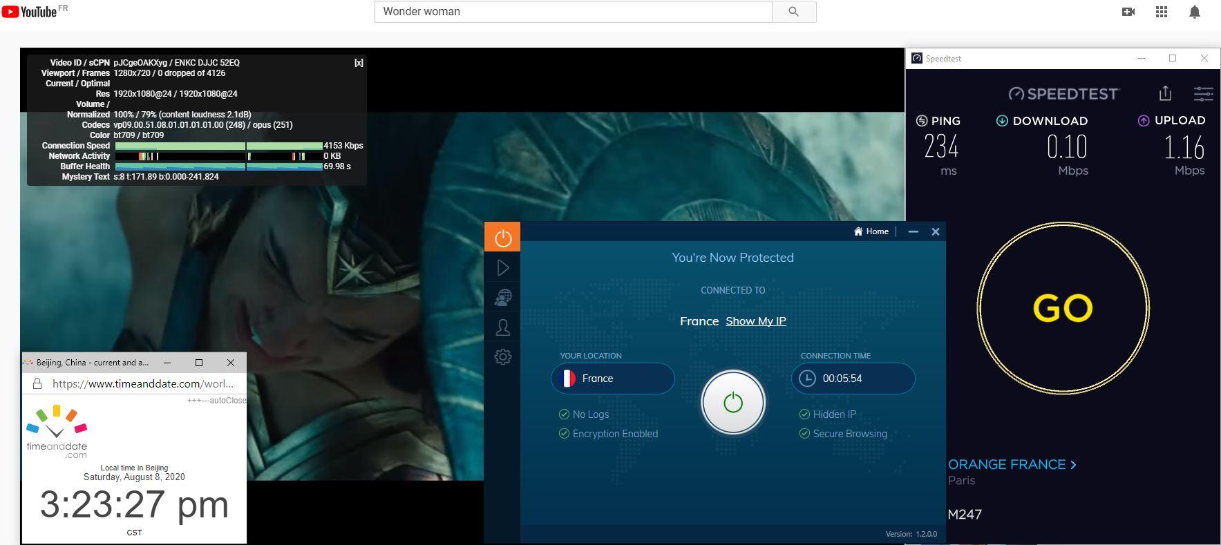 Windows10 IvacyVPN-Prime版本 France 中国VPN 翻墙 科学上网 翻墙速度测试 - 20200808