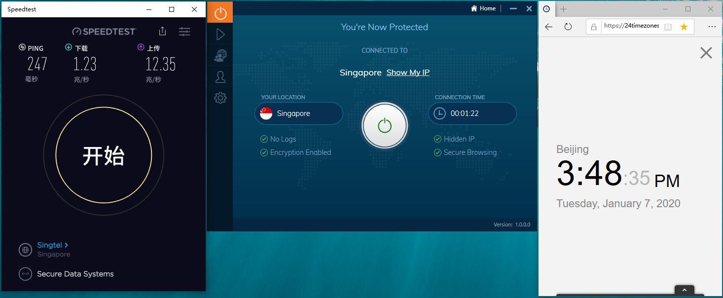 Windows10 IvacyVPN Singapore 中国VPN翻墙 科学上网 SpeedTest测速-20200107