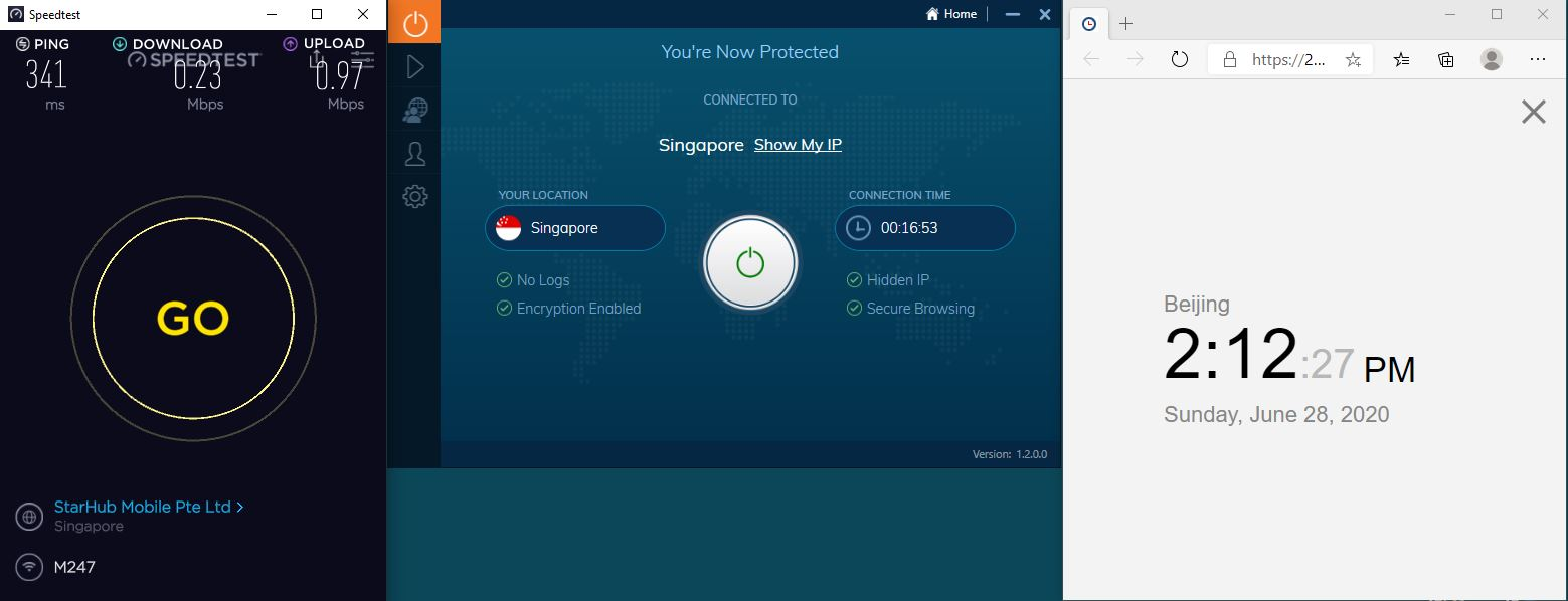 Windows10 IvacyVPN Singapore 中国VPN 翻墙 科学上网 测速-20200628