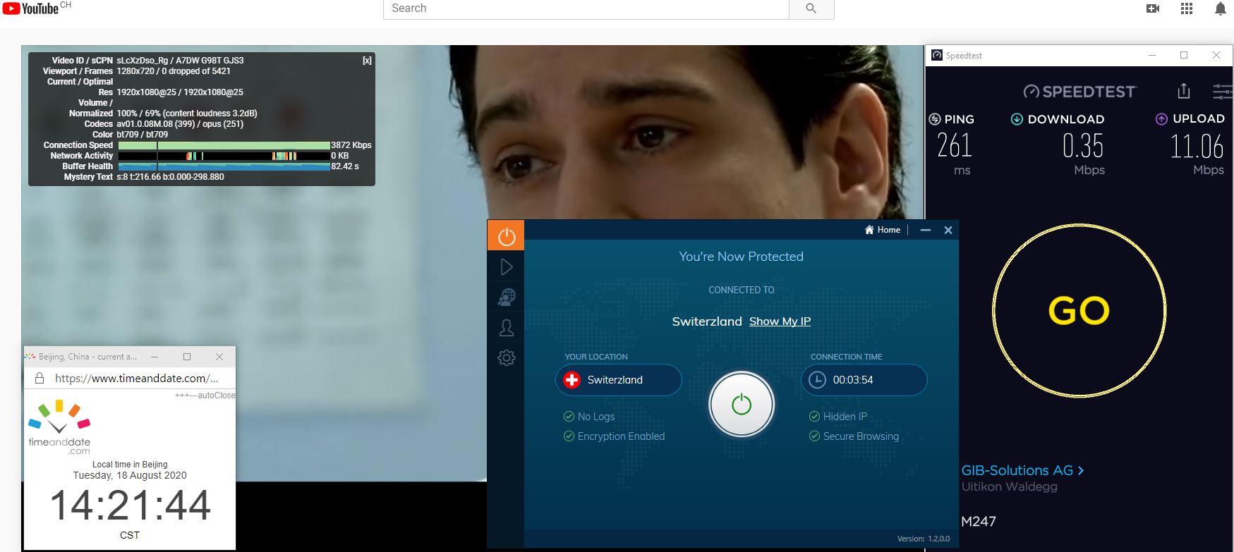 Windows10 IvacyVPN Switzerland 中国VPN 翻墙 科学上网 翻墙速度测试 - 20200818