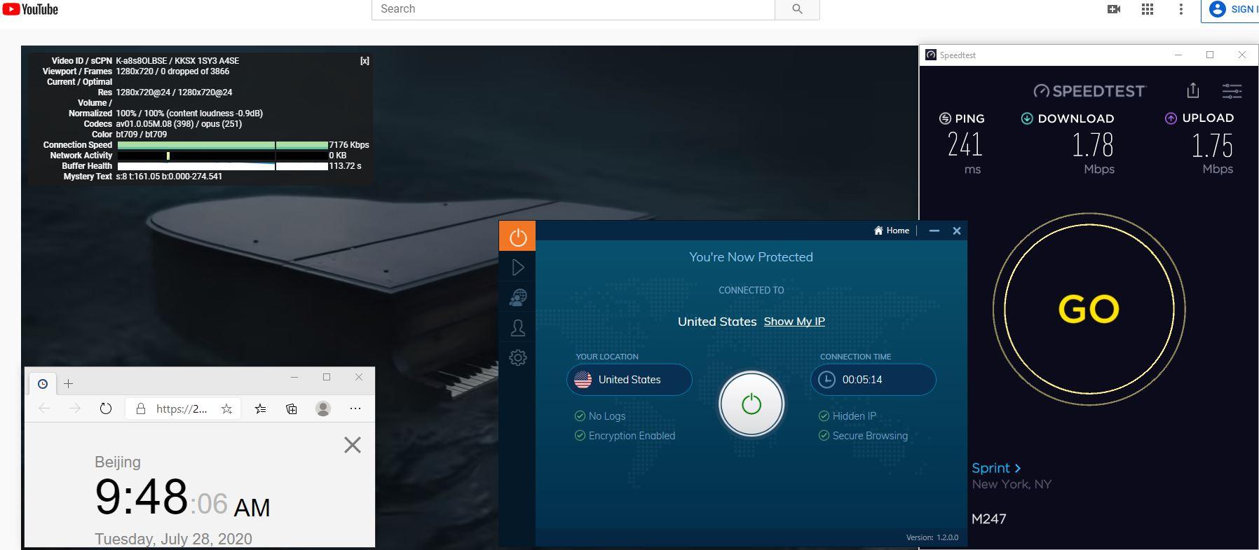 Windows10 IvacyVPN UDP协议 USA 中国VPN 翻墙 科学上网 测速-20200728