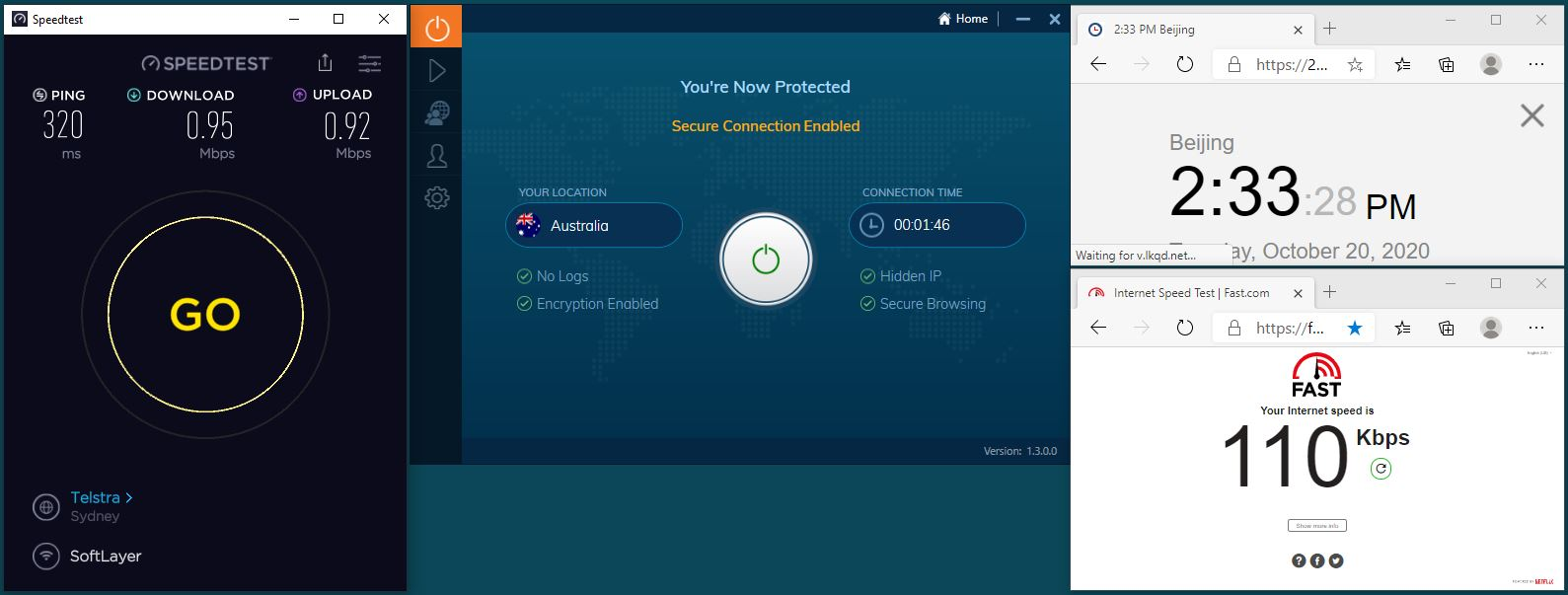Windows10 IvacyVPN UDP+5555端口 Australia 服务器 中国VPN 翻墙 科学上网 翻墙速度测试 - 20201020
